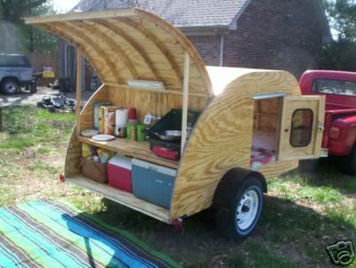 TEARDROP Tear Drop RV Camper Camp Trailer PLANS #1 | eBay this might be a bit much for a Girl Scout camp out. But it looks like fun.