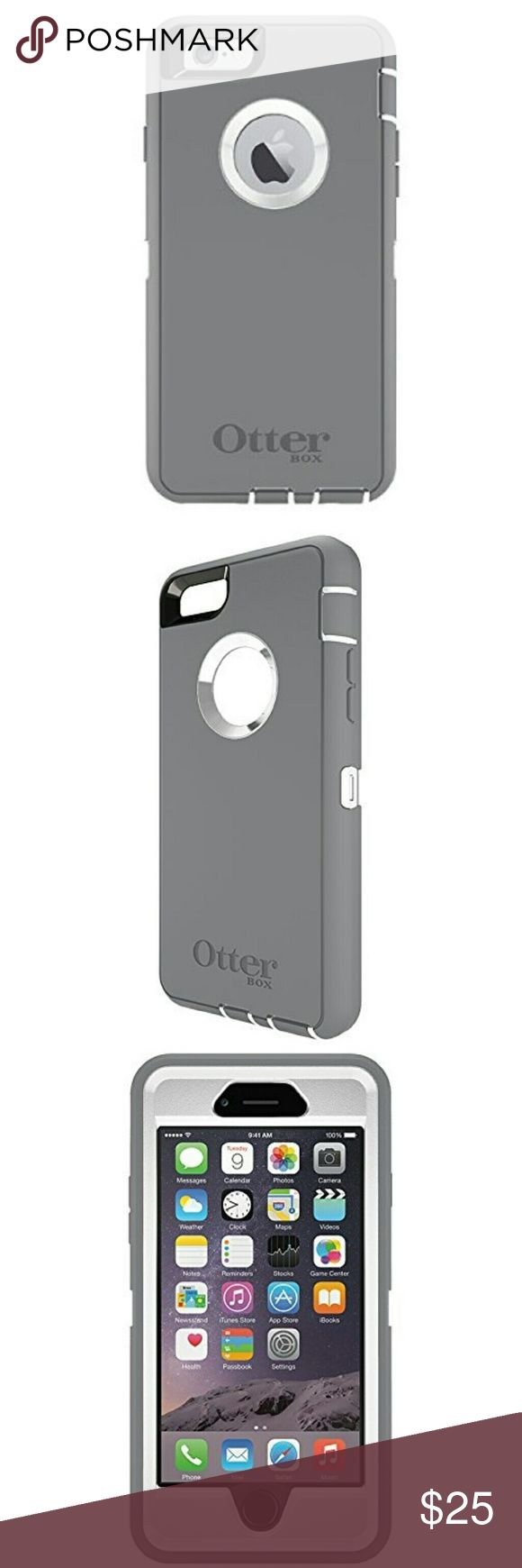 NEW! iPhone 6 Otterbox Case BRAND NEW - NEVER BEEN USED. Grey and white iPhone 6 Otter Box Defender Case! Has thin film over back circle to protect the apple on your phone from scratching. Bought it and ended up getting a Samsung Galaxy, so never got to use it! NO TRADES. OtterBox Accessories Phone Cases