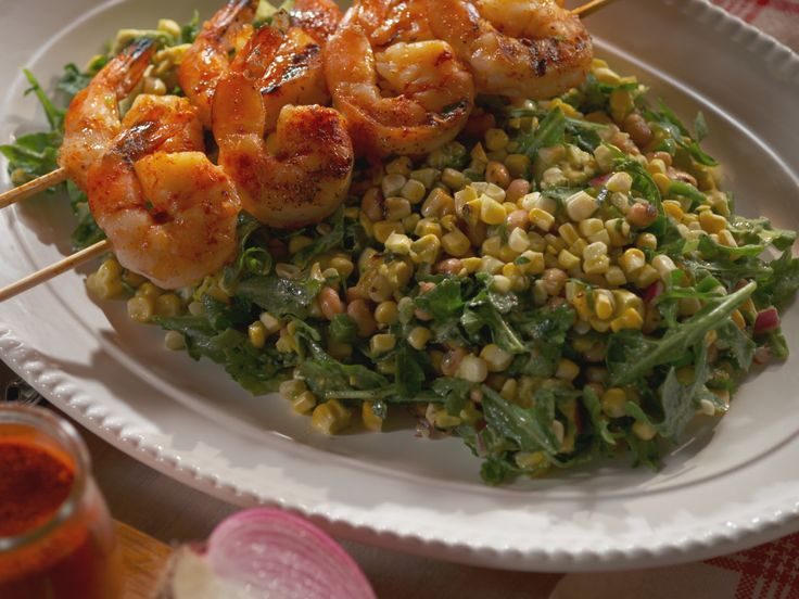 Grilled Shrimp and Corn Salad with Herb Lime Dressing recipe from Nancy Fuller via Food Network