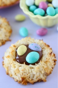 EASTER:  Coconut Macaroon Nutella Nest Cookies    2/3 cup sweetened condensed milk  1 large egg white  1 1/2 teaspoons vanilla  1/8 teaspoon salt  3 1/2 cups sweetened coconut  1 cup Nutella  M Speck-tacular Eggs (or other Easter candy)    (I used Coconut M M eggs)