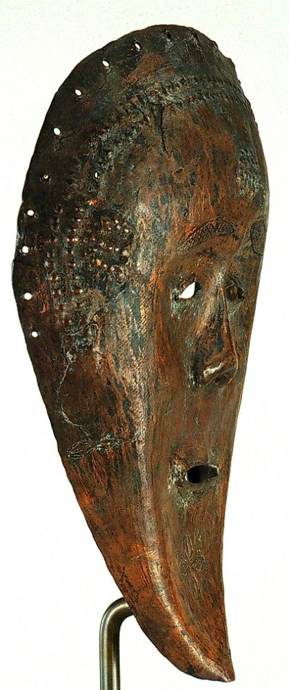"""Angola and Democratic Republic of the Congo; Ding peoples Mask Copper H. 32.07 cm (12 5/8"""") The University of Iowa Museum of Art, The Stanley Collection, X1990.652"""