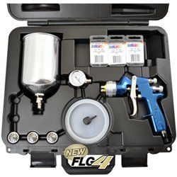 The DeVILBISS FinishLine 4 HVLP Master Spray Gun Kit includes: FinishLine 4 HVLP Gravity Feed Spray Gun, All 4 Fluid Tips Available: 1.3 mm on the gun, 1.5 mm, 1.8mm and 2.2mm, Air Valve Regulator with Gauge, 900 CC Aluminum Cup with Lid, Blow Molded Storage and Carrying Case. New, Improved FinishLine 4 with Enhanced Atomization Technology for the Latest Coatings. Value: Multiple fluid tips included, Cup included, Air adjusting valve with gauge included. Superior Results: Soft, uniform spray…