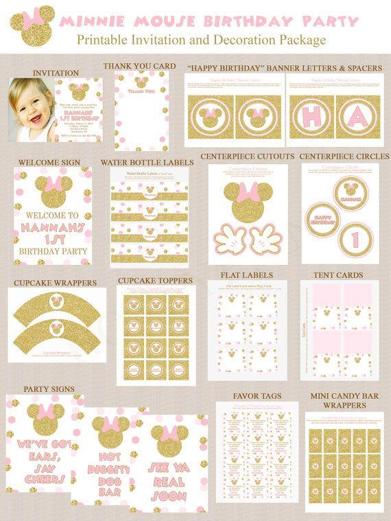 Oro brillo y rosa Minnie Mouse cumpleaños fiesta por Honeyprint