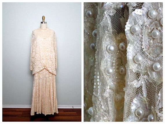 VTG Pearl Beaded Peach Lace Dress / Iridescent Sequin by braxae