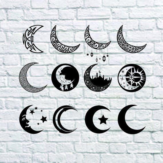Buy 3 Get 1 Free 15 Moon Svg Moon Clipart Moon Vector Moon Digital Clipart For Design Or Moon Tattoo Designs Cresent Moon Tattoo Moon Vector