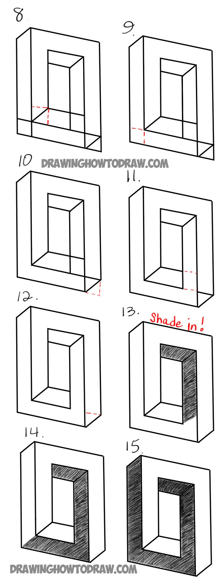 how to draw impossible stairs step by step