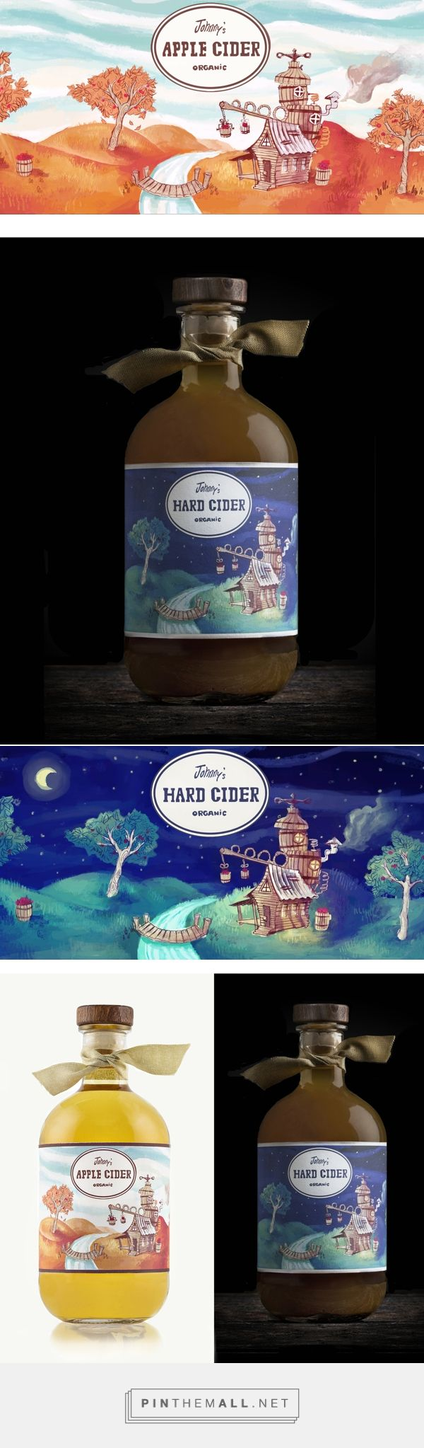 Johnny's Organic Apple Cider & Hard Cider on Behance via Dylan Wright curated by Packaging Diva PD. Pretty whimsical packaging bottle labeling for apple cider and hard cider products.