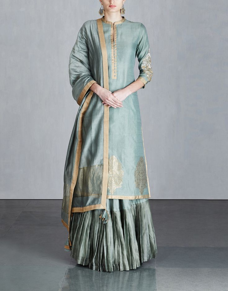 Moss Green Chanderi Kurta Set