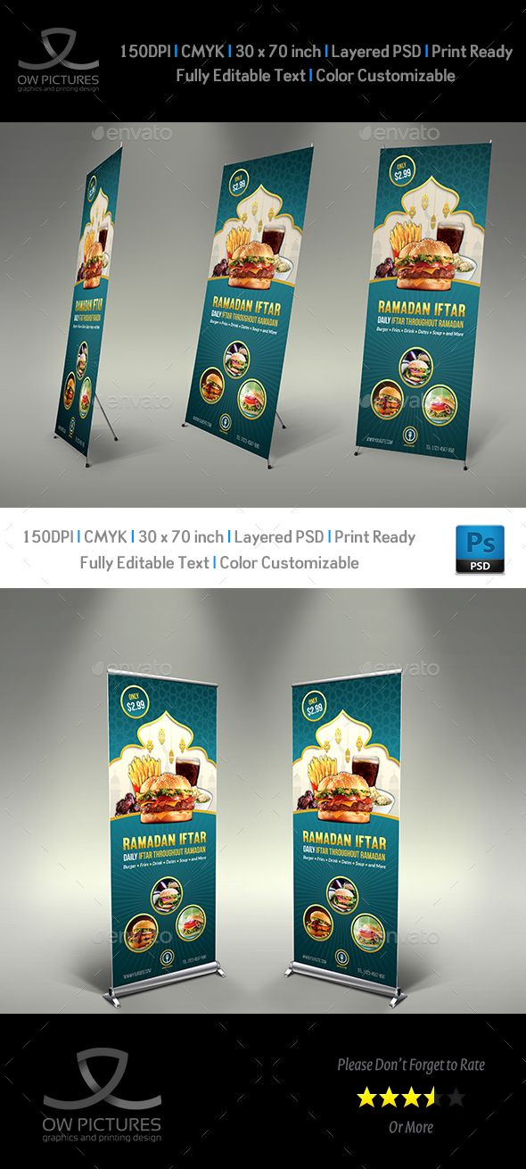 Restaurant Roll Up Signage Banner Template Psd