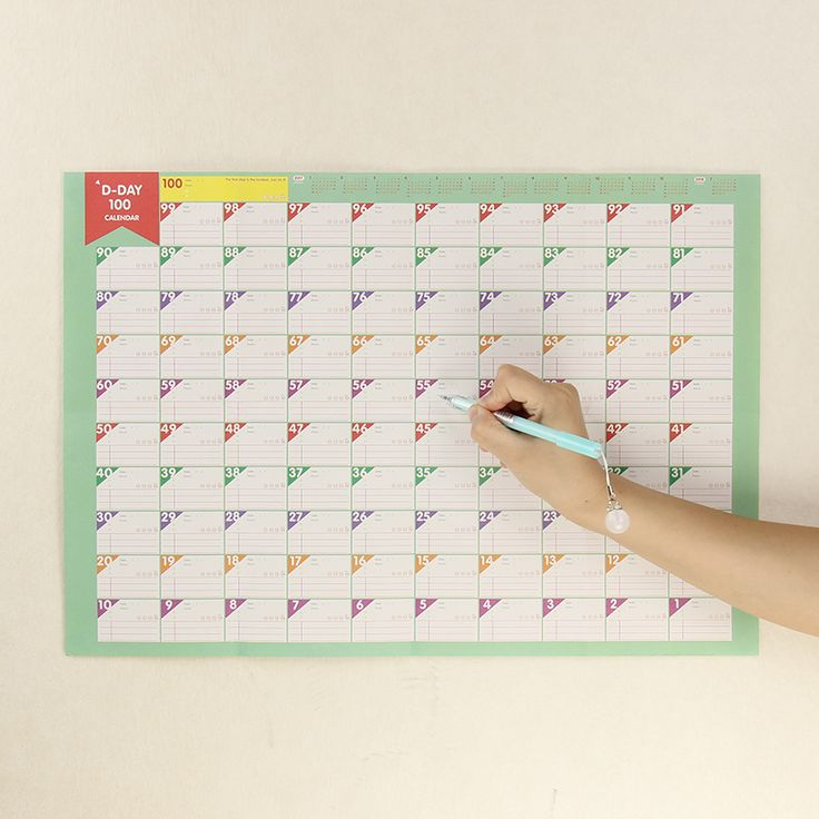 1pcs 100 Day Countdown Calendar Office School Supplies Learning Schedule Periodic Planner Table Calendar