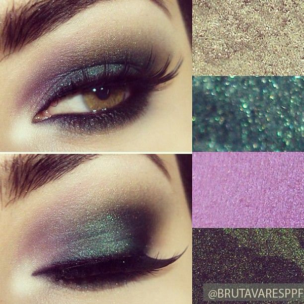 Tutorial with emerald green shade, moss green and violet.