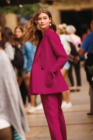 a324026fb8f0 Womens Next Bright Pink Double Breasted Relaxed Suit Jacket - Pink ...