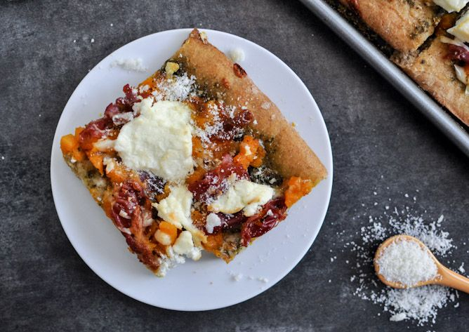 Butternut Squash, Sage Pesto and Proscuitto Pizza // recommend!! used whole wheat pizza crust recipe from allrecipes and added garlic to the crust