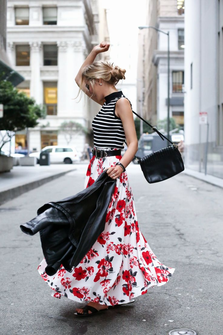 Floral Maxi Skirt and Striped Mock Neck Top | MEMORANDUM | NYC Fashion & Lifestyle Blog for the Working Girl