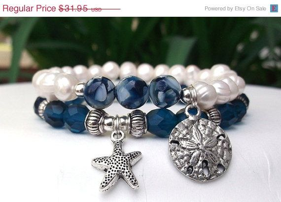 ON SALE Ocean Bracelet Nature Bracelet Blue by BlueStoneRiver, $28.76