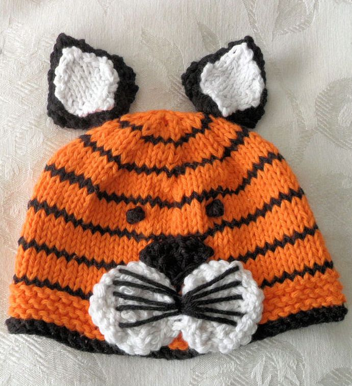 Knitting Pattern for Tiger Baby Hat - #ad Sizes from newborn to adult, though works best for babies. Great for newborn photo prop or Halloween costume. The designer also sells the finished hat as well as the pattern. tba animal baby hat