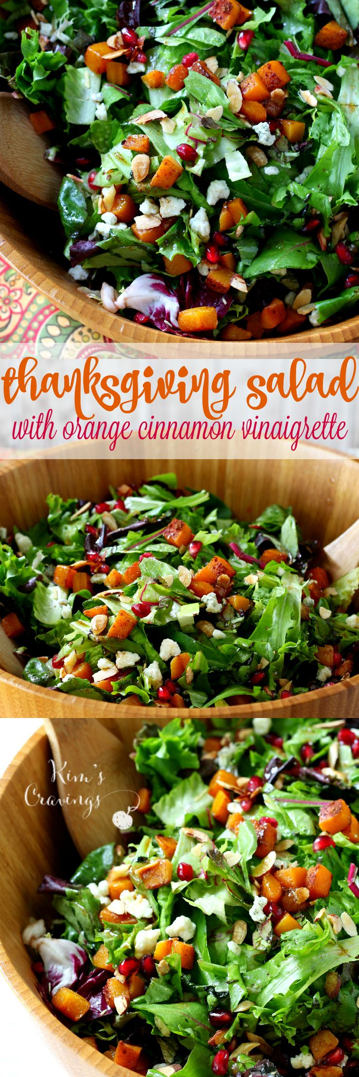 Easy Thanksgiving Salad with roasted butternut squash, pom seeds and an orange cinnamon vinaigrette that shakes up easily in a jar!