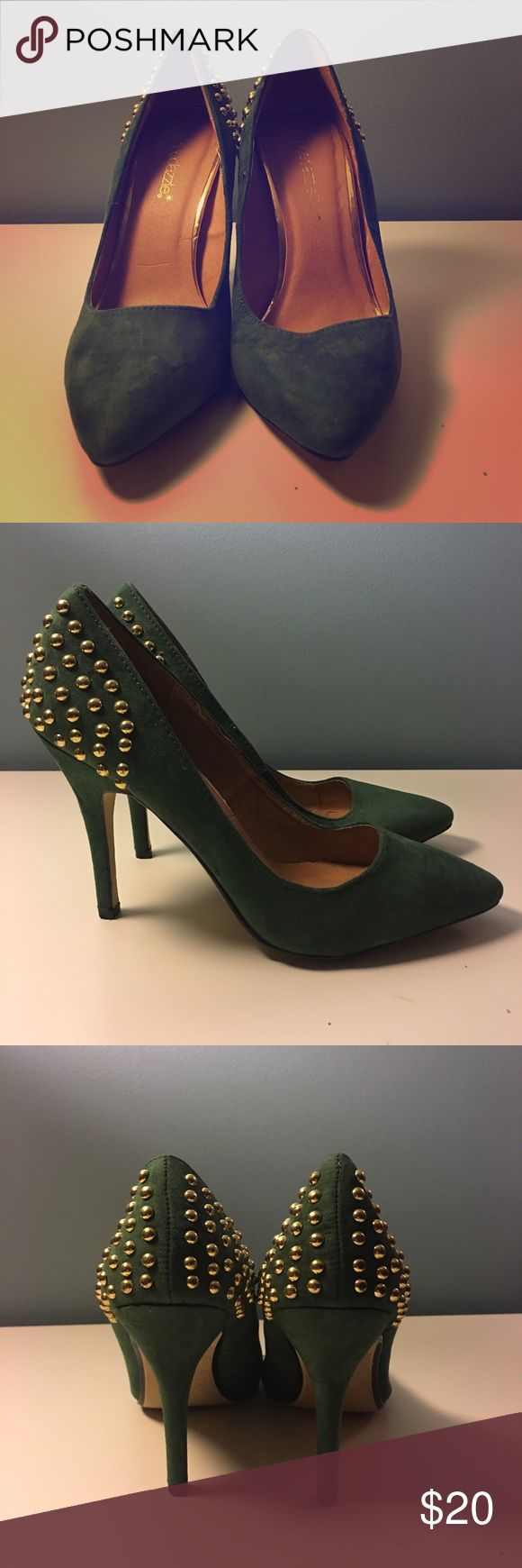 Green Shoedazzle heels Green gold studded shoedazzle heels. Pre loved but in good condition. shoedazzle  Shoes Heels