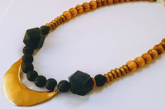 A magnificent gold necklace, Wooden bead necklace, Statement Necklaces, Coal and wood beads necklace, chunky beads necklace, Unique Necklace