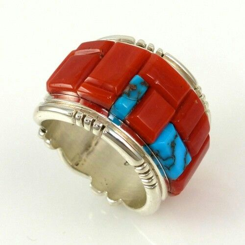 Coral and Turquoise Ring by Michael Perry - Garland's Indian Jewelry