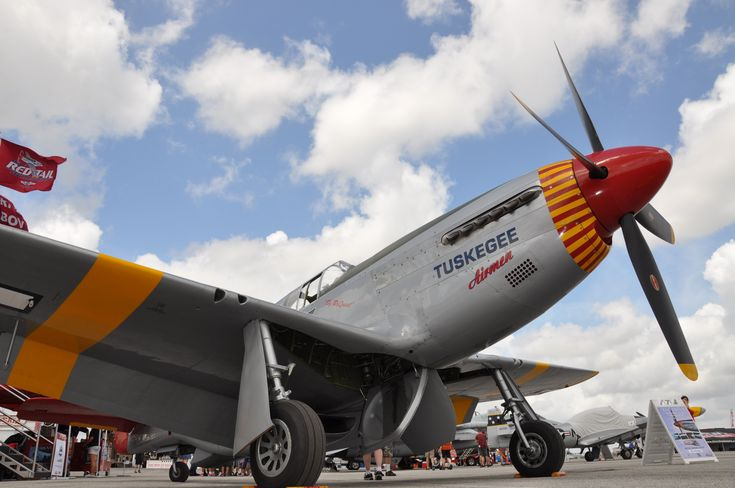 """Red Tail Squadron's Mobile Exhibit honoring the Tuskegee Airmen opens inside the Hangar on Friday. This is fully expandable, movie theater with 30 seats, air conditioned, that shows a 30 min documentary on the Tuskegee, """"Rise Above.""""I Image by Warbirds News)"""