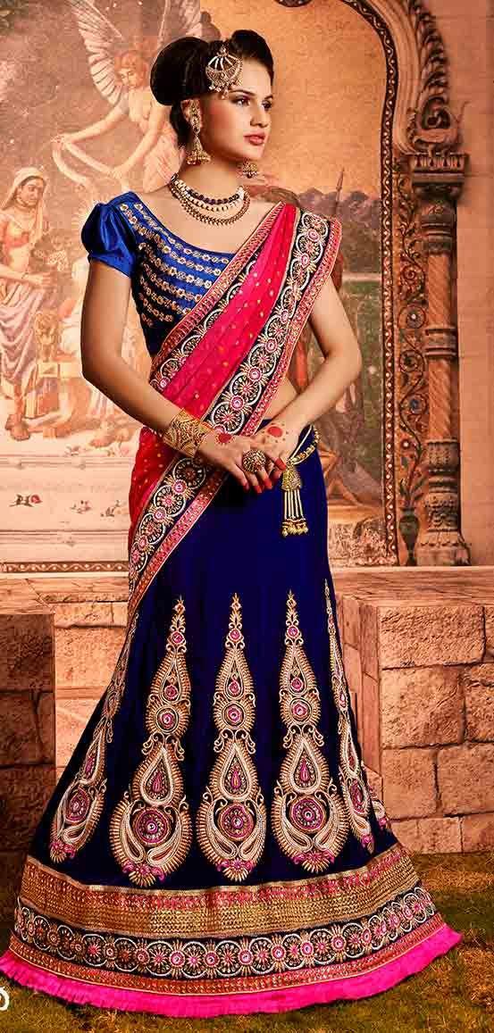 Contrasting Blue and Pink Bridal Lehenga Saree