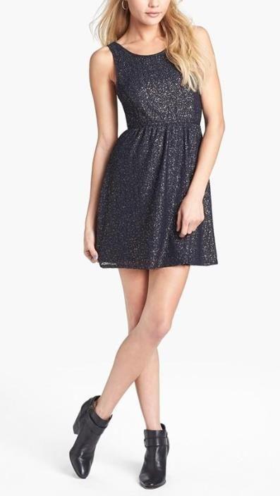 Love this metallic skater dress.