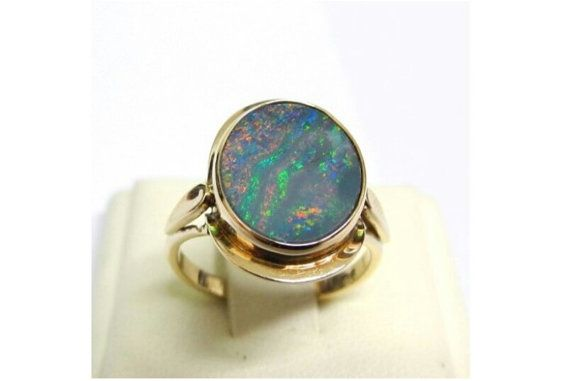 Opal Ring, 9K Gold Black Opal Unisex  Ring, 18 mm Oval Doublet Opal, Fathers Day Ring
