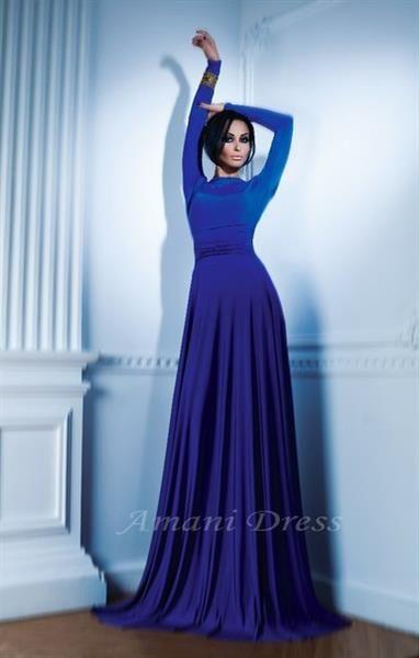 Синее платье макси