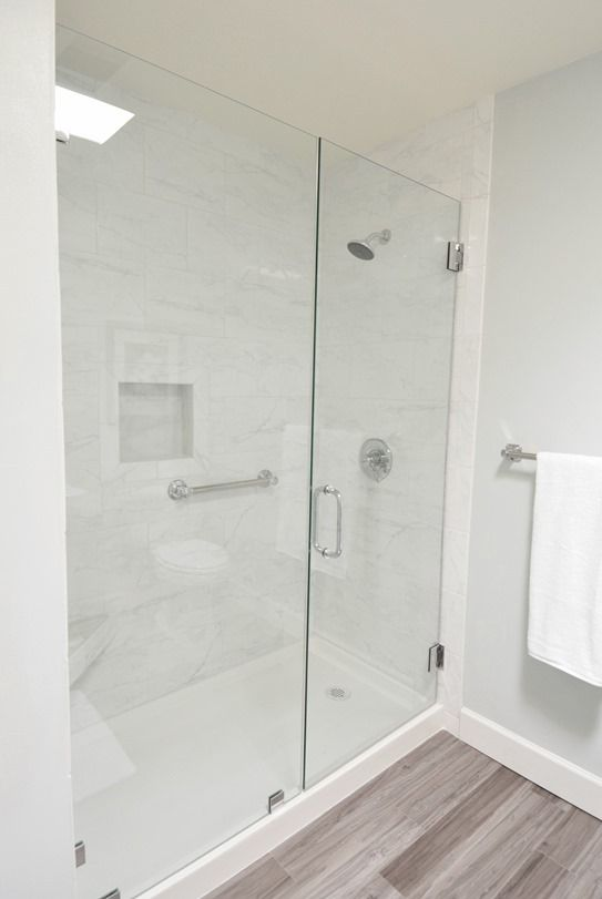 Home Depot tile, shampoo area & bench, glass doors