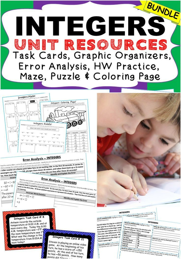 I use this INTEGERS Unit Resource BUNDLE every year with my students (40 task cards, 10 error analysis activities,10 problem solving graphic organizers and 5 homework practice worksheets, 3 puzzles (over 120 problems). Perfect for math stations, homework, test prep, math stations, exit tickets. Topics: Opposites, Absolute Value, Adding Integers, Subtracting Integers, Multiplying Integers, Dividing Integers, Finding the Average of Integers 7th grade math common core 7.NS.1, 7.NS.2, 7.NS.3