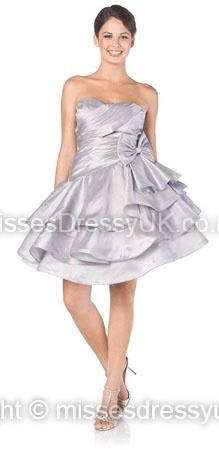 A-line Strapless Taffeta Short/Mini Silver Ruffles Prom Dress