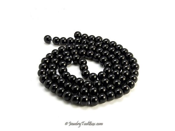 Black Pearls Glass Bead Strands Pearlized Round Glass 36