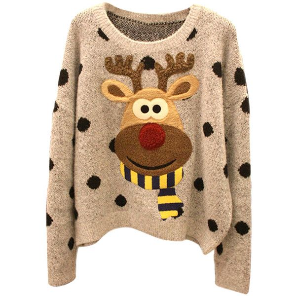 Womens Cute Reindeer Patterned Pullover Ugly Christmas Sweater Khaki found on Polyvore featuring tops, sweaters, shirts, khaki, christmas tops, print top, beige sweater, pattern shirts and shirts & tops