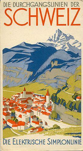 Schweiz / Switzerland vintage travel poster ~ 'Die Durchgangslinien der Schweiz' ~ 'Die Elektrische Simplonlinie'