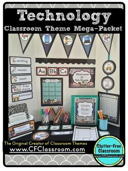 Technology Theme / TECHNOLOGY THEME / COMPUTER LAB Decor, Editable Printables, Organizational Tools, Classroom Essentials and More!Includes 34 technology theme products for only 35 cents each! Do you want to create a beautiful, organized technology theme learning environment that will impress students, parents, colleagues and administrators?