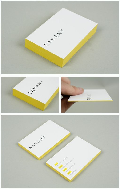 Idea for personal branding and identity!  Currently I have a feature on all my branding as yellow- loving the coloured sides of these business cards