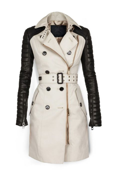Burberry hybrid trench and leather moto jacket. Two-way zipper, double grommet buckled belt, quilted leather sleeves.