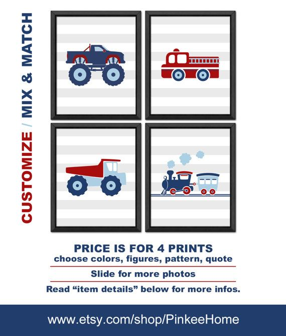 monster truck nursery, truck train fire truck little boys room decor, truck room decor, monster truck kids wall art, truck baby room decor SET OF 4 The perfect addition to your nursery! :) !Custom inquiries are welcome! ➨ NEED TO KNOW: - Art prints are unmatted and unframed - Included