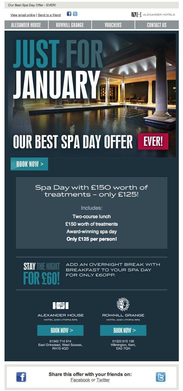 January email offer we designed & built for Alexander Hotels