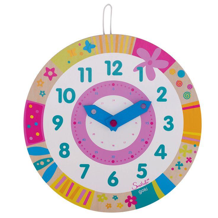 Leer klok kijken met deze kleurrijke klok van Susibelle! De klok heeft leuke kleuren en bloemen.Afmeting: Ø 28 cm - Susibelle Leer Klok Kijken BT