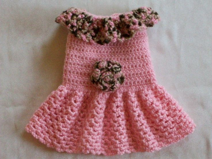 Crocheted Pet Dog Cat Clothes Apparel Sweater Dress Coat Vest XS Baby Pink