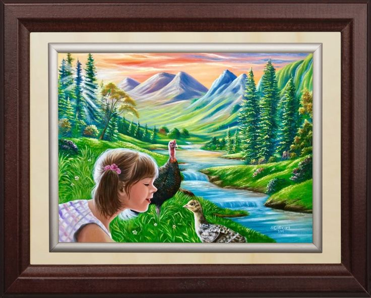 "'""I love you💝Please don't eat my mommy"" painted by Jean Cathcart. 🦃🦃🦃🦃🦃Have a blessed Sunday to all😇😇😘😘😘😘🕊🕊🕊' created in #neybers"