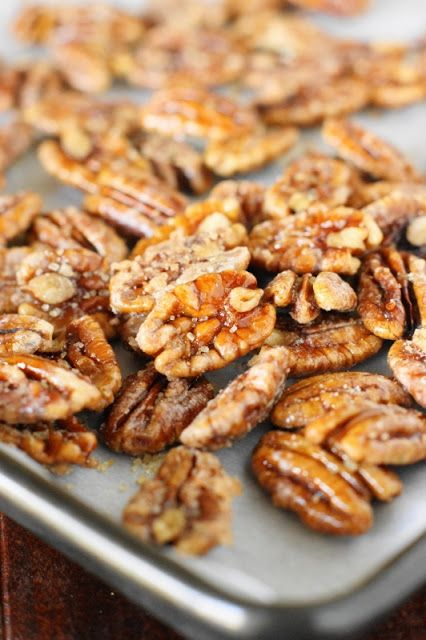 How to Make Candied Pecans ~ add a little extra-special decorative touch to desserts, salads ... or even breakfast dishes! www.thekitchenismyplayground.com