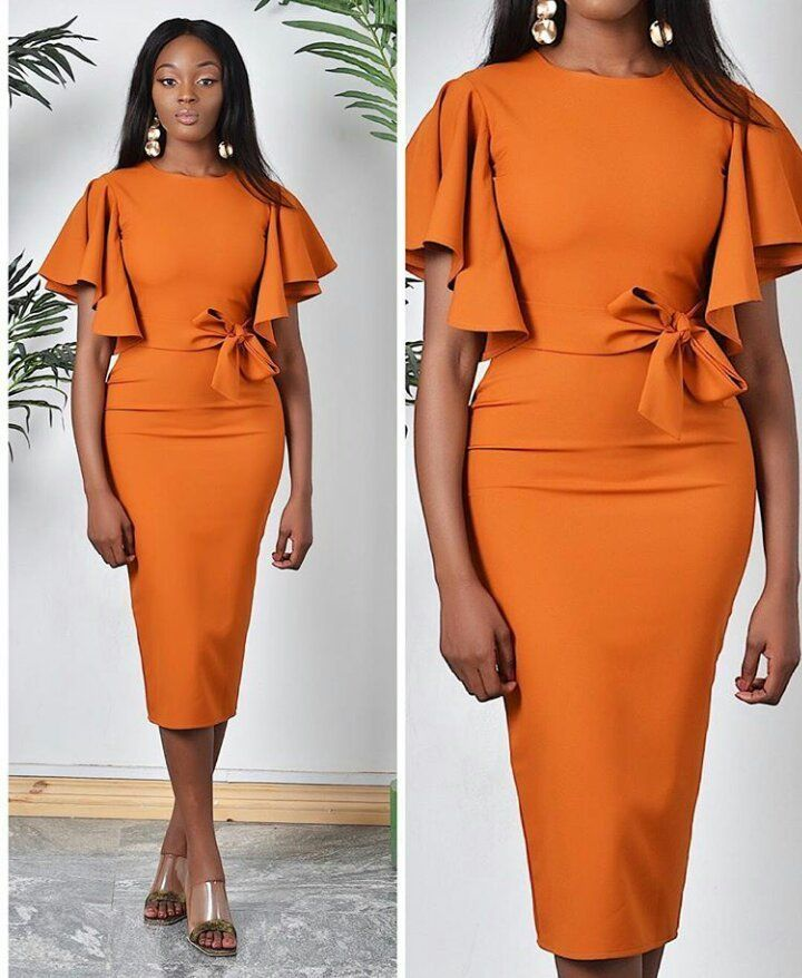 Orange Crepe Dress Crepe Fabric Styles Crepe Fabric African Fashion Dresses African Wear Dresses Corporate Dress