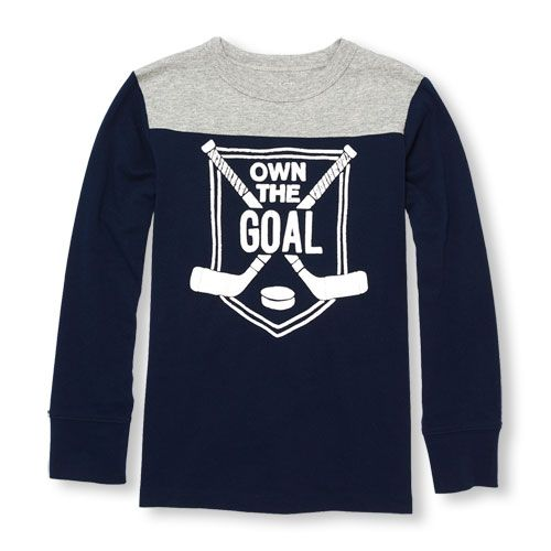 s Boys Long Football Sleeve Graphic Top - Blue - The Children's Place