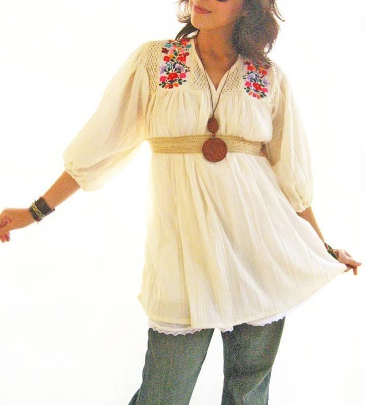 Love Mexican Blouse Tunic embroidered goddess    Aida Coronado
