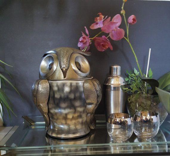 Vintage Ice Bucket Mid Century Owl Rare Old Tankardware Pewertone Cookie Jar Barware