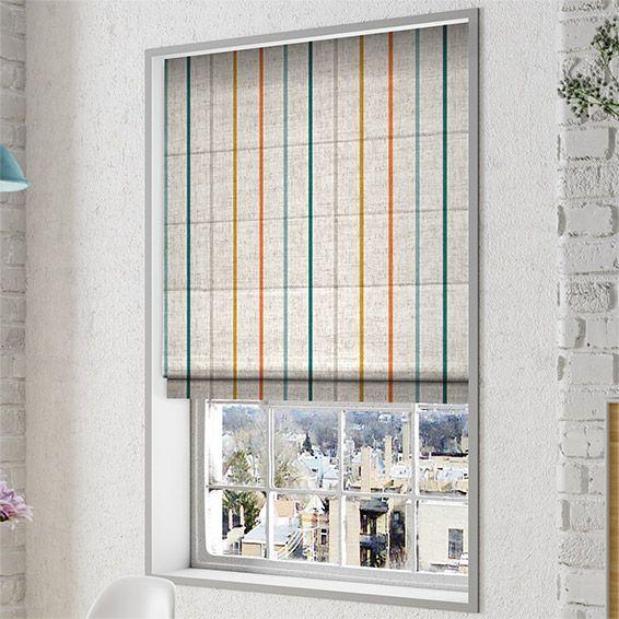 Twill Stripe Linen Mediterranean Roman Blind%20from%20Blinds%202go