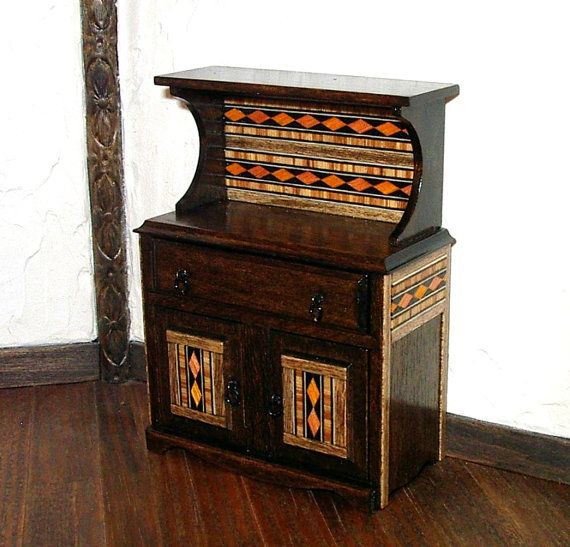 Rustic Hutch with Inlay Decoration Rustic by CalicoJewels on Etsy